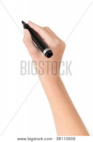 Hand With Marker Drawing Isolated