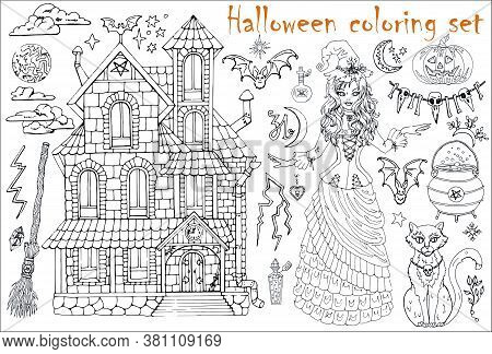 Halloween Coloring Set With Beautiful Witch Girl In Costume, House, Cat, Pot And Scary Objects. Hand