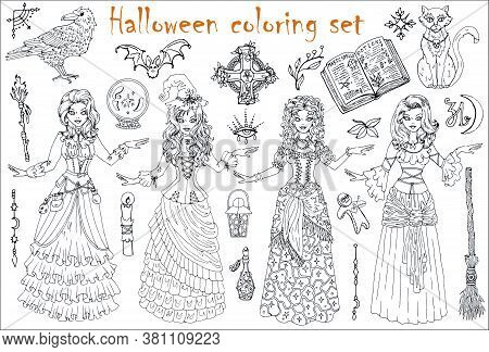 Halloween Coloring Set With Beautiful Witch Girls In Gipsy, Medieval And Steampunk Costumes, Scary W