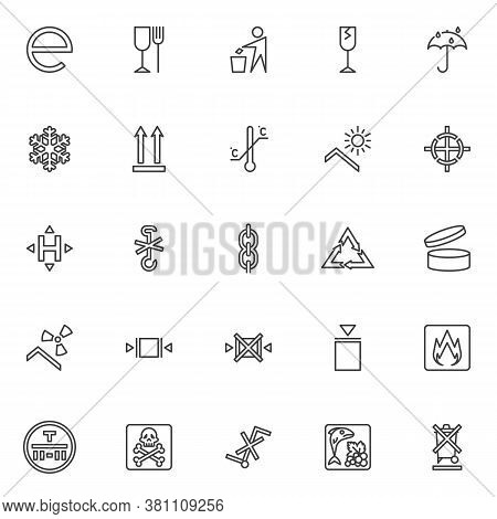 Packaging Signs Line Icons Set. Linear Style Symbols Collection, Outline Signs Pack. Vector Graphics