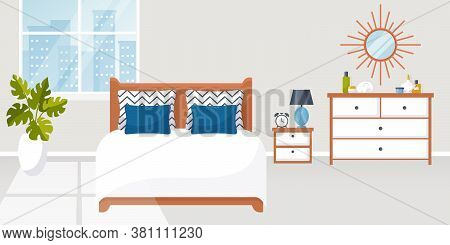 Bedroom Interior. Vector Illustration. Design Of A Trendy Cozy Room With Double Bed, Bedside Table,