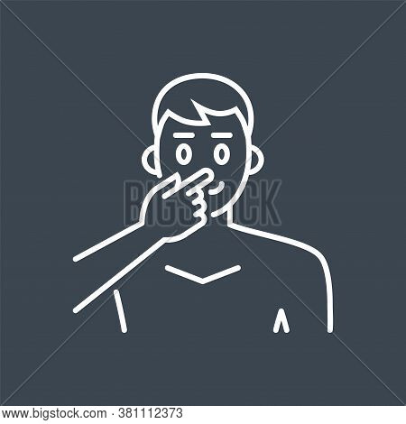 Avoid Face Touch Related Vector Thin Line Icon. Man Touches Face With Finger. Isolated On Black Back