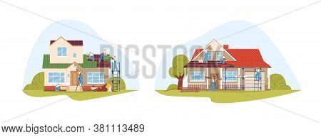 Crew Of Workers In Uniform During Repair Of Private Houses Set Vector Flat Illustration. Team Of Rep