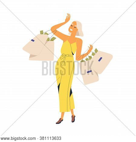 Fashion Woman Millionaire Carrying Bags Full Of Currency Vector Flat Illustration. Smiling Rich Girl