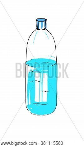 Drinking Water In A Bottle. Stock Vector Illustration On A White Isolated Background. For A Logo, Fo