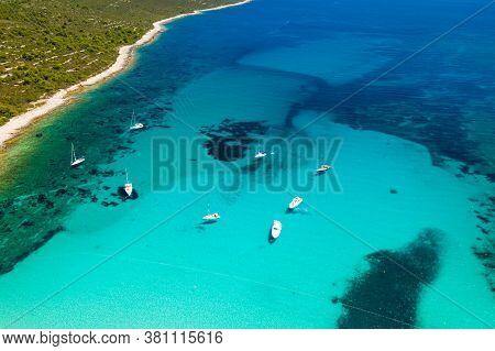 Amazing Adriatic Coast In Croatia. Turquoise Lagoon On Sakarun Beach On Dugi Otok Island, Beautiful