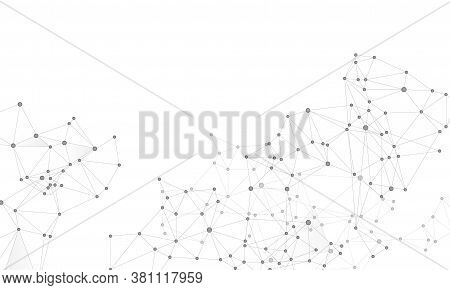 Social Media Communication Digital Concept. Network Nodes Greyscale Plexus Background. Circle Nodes