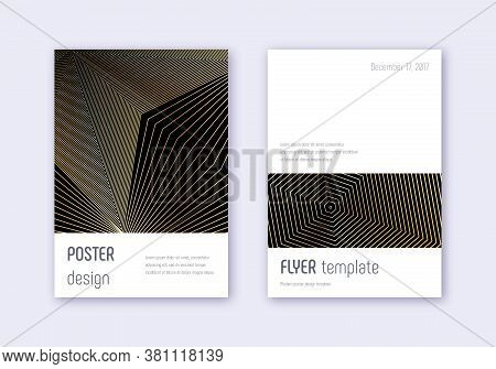 Minimalistic Cover Design Template Set. Gold Abstract Lines On Black Background. Dramatic Cover Desi
