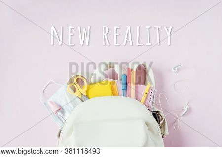 Student School Bag With Medical Mask And Hand Sanitizer Clip On, School Reopening, Return Back To Sc