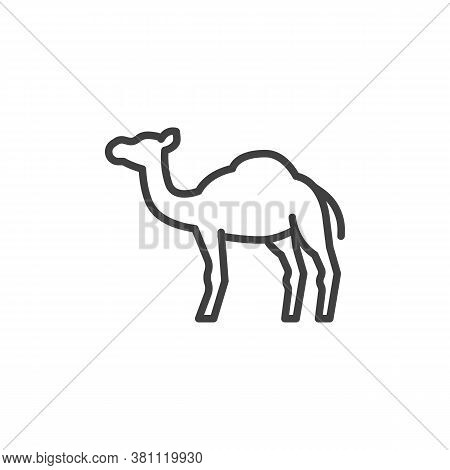 Camel, Animal Line Icon. Linear Style Sign For Mobile Concept And Web Design. Camel, Side View Outli