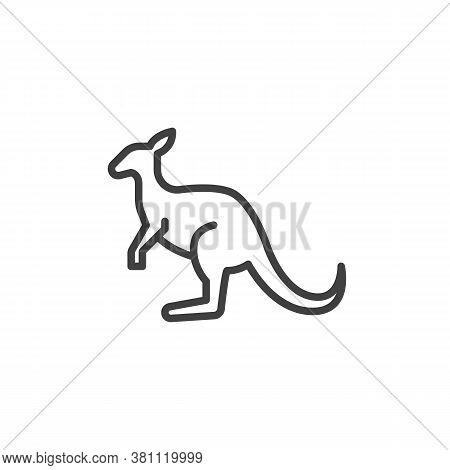 Kangaroo, Animal Line Icon. Linear Style Sign For Mobile Concept And Web Design. Wallaby Kangaroo Ou