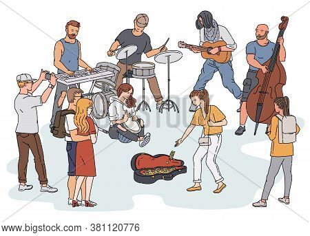 Street Orchestra - Cartoon People Playing Musical Instruments