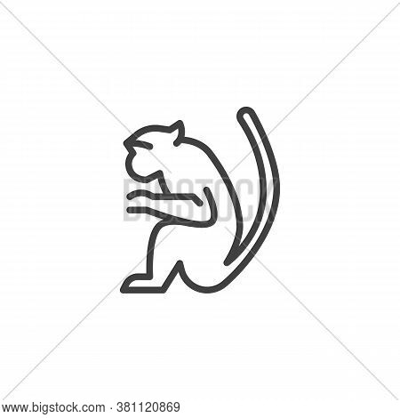 Marmoset Monkey Line Icon. Linear Style Sign For Mobile Concept And Web Design. Monkey Animal Outlin