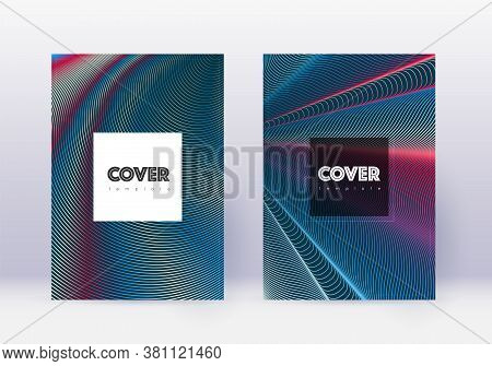 Hipster Cover Design Template Set. Red Abstract Lines On White Blue Background. Curious Cover Design