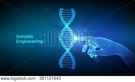 Hand Touching Dna Sequence Molecules Structure Mesh. Wireframe Dna Code Editable Template. Genetic E