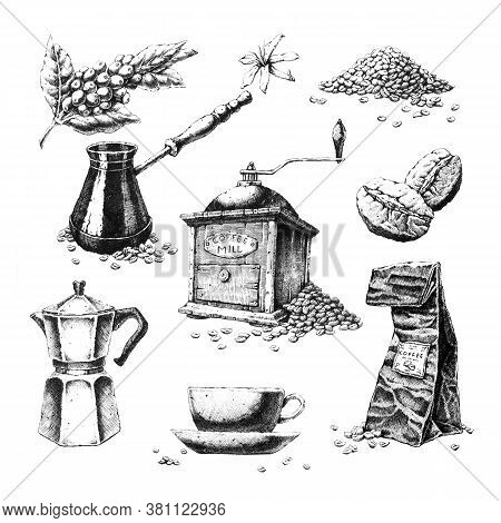Hand-drawn Black And White Illustrations On The Theme Of Coffee. Jpeg Only.