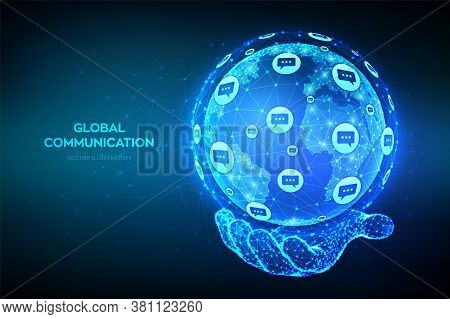 Global Communication Concept. Abstract Low Polygonal Planet Earth Globe With Dialog Speech Bubbles I