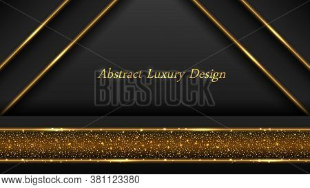 Gold On Black Luxury Background. Golden Glowing Lines And Shiny Luminous Sparkles With Glitter Effec