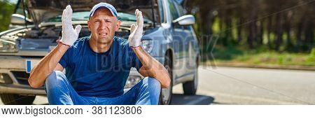 Upset Driver Man In Front Of Old Automobile Crash Car Collision Accident In City Road.