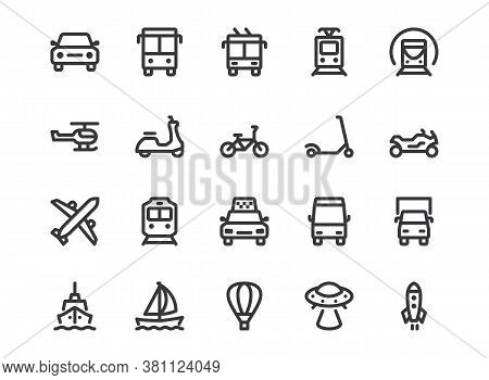 Transport Line Icon. Minimal Vector Illustration With Simple Outline Icons As Car, Bus, Train, Bicyc
