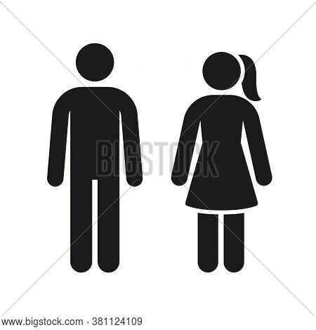Men Women Vector Sign, Toilet Silhouette Symbol. Black Gender Stick Figures For Male And Female Bath
