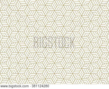 Abstract Stripes, Line Vector Seamless Pattern. Neutral Monochrome Business Background, Gold White C