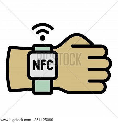 Hand Nfc Smartwatch Icon. Outline Hand Nfc Smartwatch Vector Icon For Web Design Isolated On White B