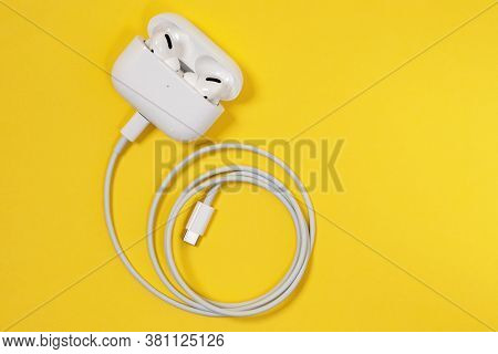Rostov, Russia - July 06, 2020: Wireless Apple Headphones Airpods Pro With Soft, Flexible Silicone T
