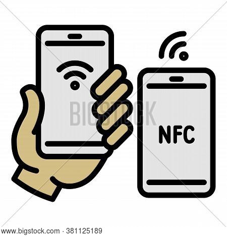 Nfc Shop Payment Icon. Outline Nfc Shop Payment Vector Icon For Web Design Isolated On White Backgro