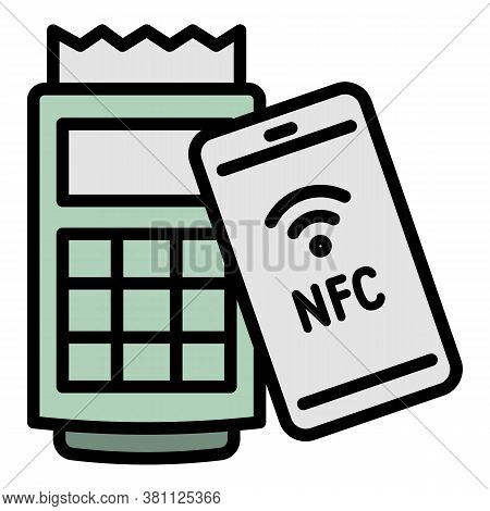 Nfc Payment Machine Icon. Outline Nfc Payment Machine Vector Icon For Web Design Isolated On White B