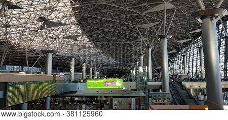 Russia, Moscow 20,10,2018   Interior Shot Of Vnukovo International Airport.