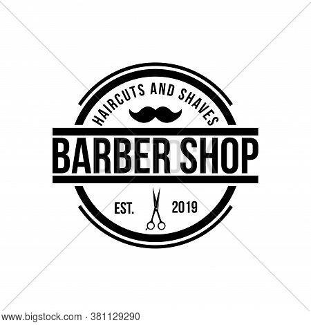 Trendy Barber Shop Logo, Label. Barber Shop Logo With Barber Razor. Vintage Poster. Retro Design. Ve