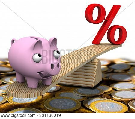Favorable Interest Rates. Satisfied Pig Piggy Bank Weighed On The Scales With A Red Percentage Symbo