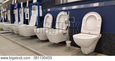 Russia, St. Petersburg 16,12,2018 Various Brands Of New Toilet Bowl Display In Homepro Store. Homepr