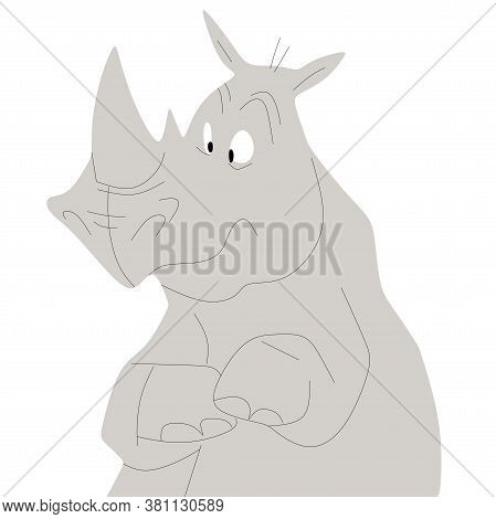 Mercenary Day Rhinoceros. Color Vector Illustration Of An African Grey Rhinoceros.surprised Rhinocer