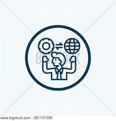 Information Manager Icon Isolated On White Background From Male Occupations Collection. Information