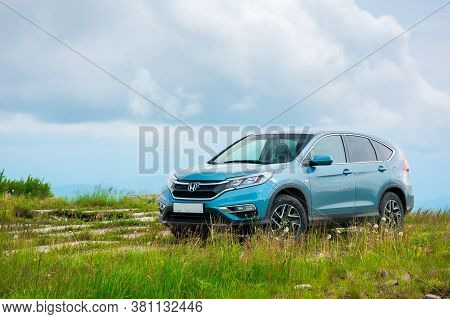 Mnt. Runa, Ukraine - Jun 22, 2019: Honda Cr-v Suv On A Concrete Pavement. Reliable Family Vehicle Co