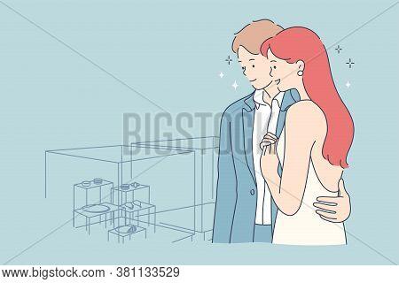 Couple, Shopping, Beauty, Fashion, Choice Concept. Youn Man Woman Husand Wife Boyfriend Girlfriend C