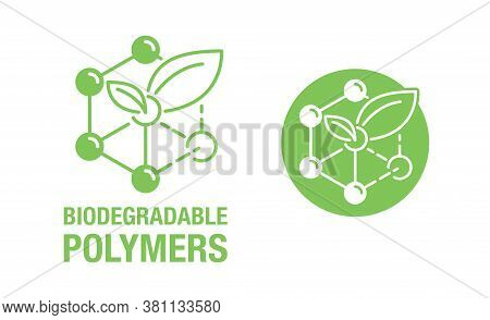 Biodegradable Polymers Icon - Green Emblem With Plastic Polymer Molecular Structure And Plant Leaf I