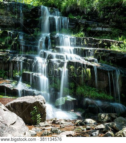 Mountain Waterfall. Small River In The Old Mountain, Serbia And Her Waterfall Tupavica