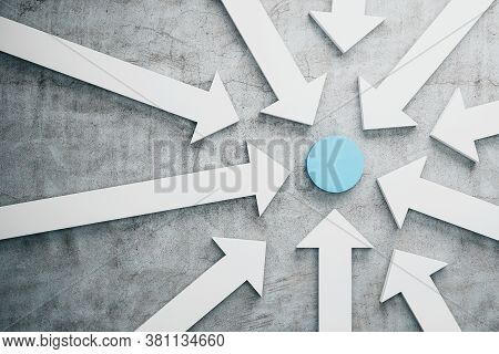 White Arrows Pointing To Blue Circle On Concrete Background. Leadership And Success Concept. 3d Rend