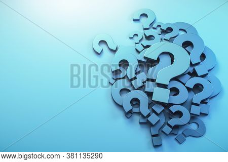 Blue Question Mark Symbol  On A Blue Background. Business And Challenge Concept. 3d Rendering