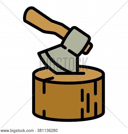 Axe In Stump Icon. Outline Axe In Stump Vector Icon For Web Design Isolated On White Background