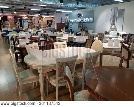 Finland, Imatra 09-02-2019 Dining Tables In A Furniture Store