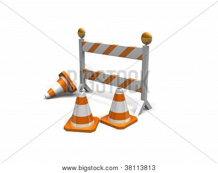 construction cones and a barrier