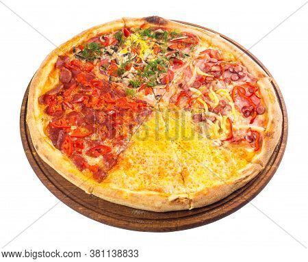 Pizza With Four Different Type Of Toppings. Tasty Quadruple Italian Family Food On The Round Wooden