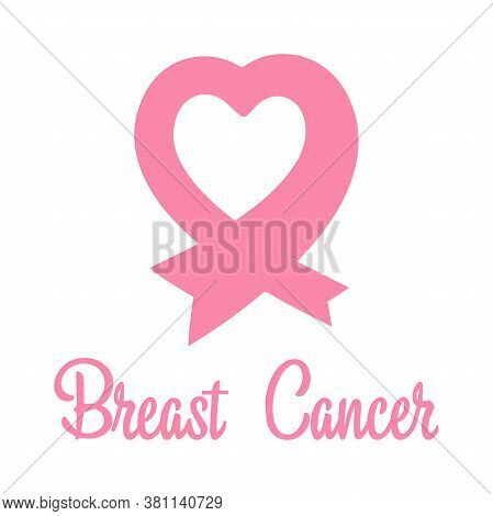Pink Ribbon In The Shape Of A Heart. Breast Cancer Awareness Symbol. World Breast Cancer Day.flat De
