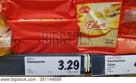 Finland, Lappeenranta, 17,11,2019 Edam Cheese In A Package On A Store Shelf