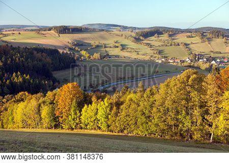 Autumn Panorama From Bohemian And Moravian Highland, Vecov Village, Zdarske Vrchy,  Czech Republic
