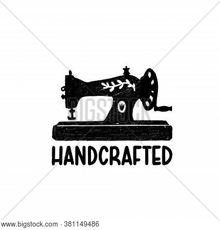 Handcrafted Icon Or Logo. Vintage Stamp Icon With A Retro Sewing Machine And Hand Crafted Inscriptio